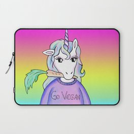 go vegan unicorn rainbow Laptop Sleeve