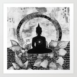 Bouddha black and white Art Print