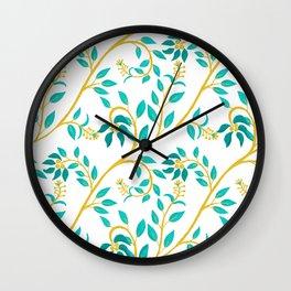 Floral Vine_green Wall Clock