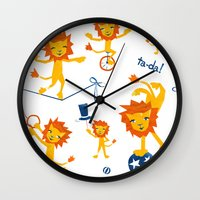 lions Wall Clocks featuring Lions by Kendra Shedenhelm