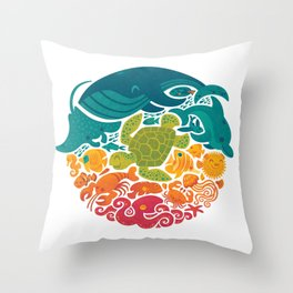 Aquatic Rainbow (white) Throw Pillow
