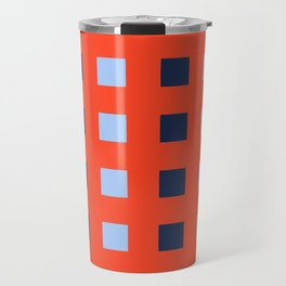 Geometric abstraction: dark and light cobalt blue squares on scarlet red Travel Mug