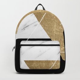 Golden marble deco geometric Backpack