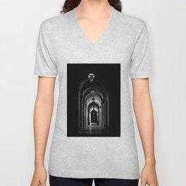 Chiaroscuro   Echoes of light   Low key black and white photography   Hallway Hôtel-Dieu of Lyon Unisex V-Neck