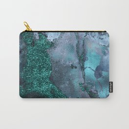 Malachite Glitter Stone and Ink Abstract Gem Glamour Marble Carry-All Pouch