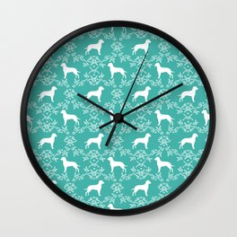 Dalmatian silhouette florals dog breed gifts for dalmatians floral pattern Wall Clock