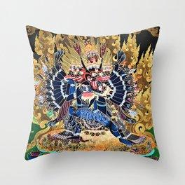 Buddhist Vajrabhairava Demon Deity 4 Throw Pillow