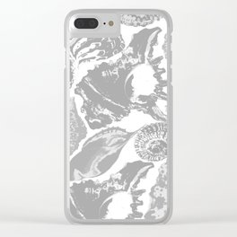 Grey seashells parade Clear iPhone Case