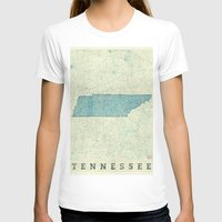 tennessee T-shirts featuring Tennessee State Map Blue Vintage by City Art Posters