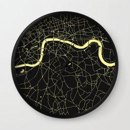 London Black on Yellow Street Map Wall Clock
