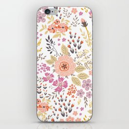 Summery Floral Textile Print - Pink Flowers iPhone Skin