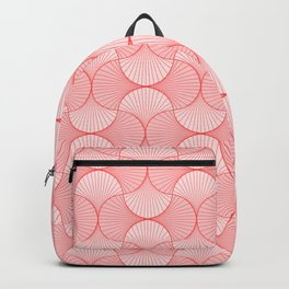 Happy Coral Retro Flowers Abstract Backpack