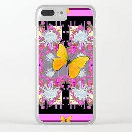 Pink-Purple Yellow Butterflies  & Flowers Garden Art Clear iPhone Case