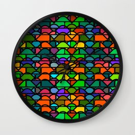 Colorful waves and bricks Wall Clock
