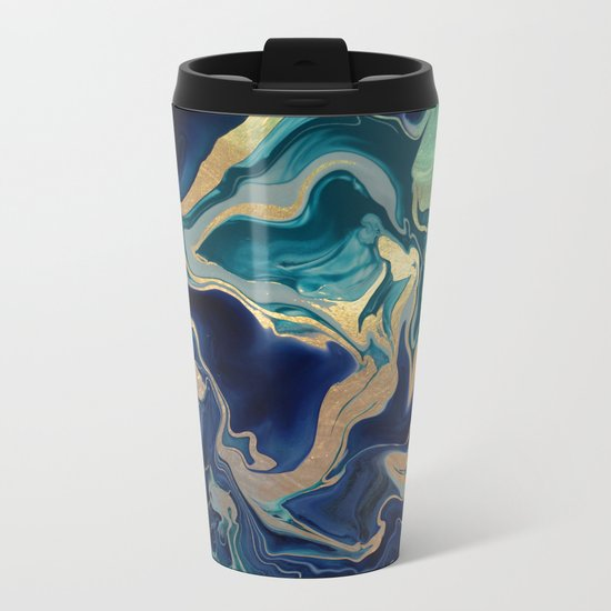 DRAMAQUEEN - GOLD INDIGO MARBLE Metal Travel Mug