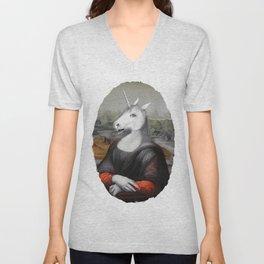 Unicorn Mona Lisa Unisex V-Neck