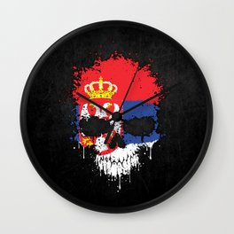 Flag of Serbia on a Chaotic Splatter Skull Wall Clock