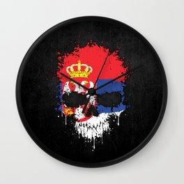 Flag of Serbia on a Chaotic Splatter Skull Wall Clock
