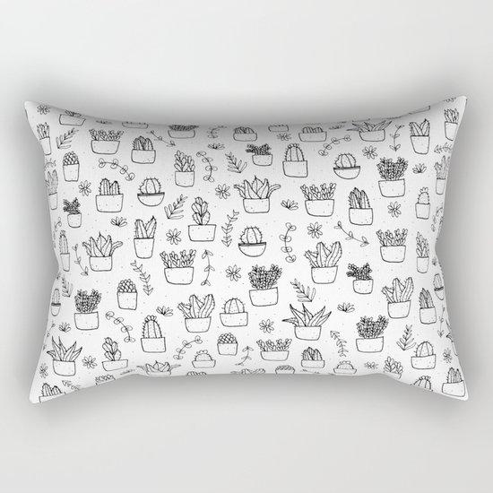 Potted Plants Pattern (Black on White) Rectangular Pillow