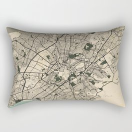 Athens City Map of Greece in Old Vintage Rectangular Pillow
