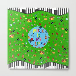 Music is my life (Green) Metal Print