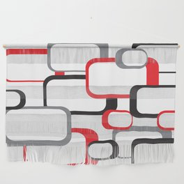 Red Black Gray Retro Square Pattern White Wall Hanging