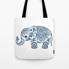 Blue Floral Paisley Cute Elephant Illustration Tote Bag