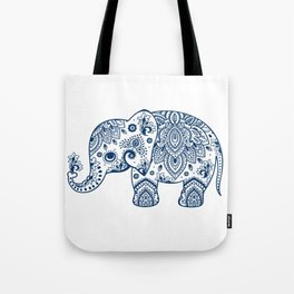 Blue Floral Paisley Cute Elephant Illustration Tote Bag