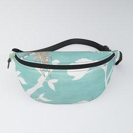 Chinoiserie Panels 4-5 White Scene on Teal Raw Silk - Casart Scenoiserie Collection Fanny Pack
