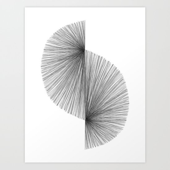 Mid Century Modern Geometric Abstract S Shape Line Drawing Pattern by mininst