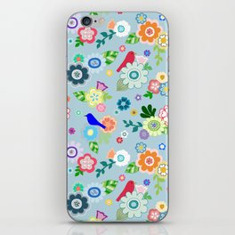 Whimsical Spring Flowers in Blue iPhone Skin