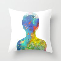 kozyndan Throw Pillows featuring Ocean Thoughts by kozyndan