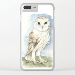 Barn Owl - Watercolor Clear iPhone Case