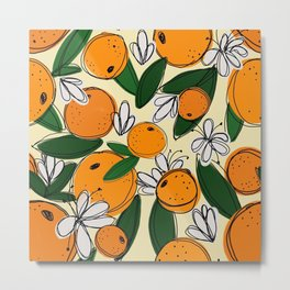 Oranges in Bloom Metal Print