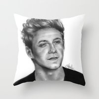 niall horan Throw Pillows featuring Niall Horan Pencil Drawing  by Anna Nilsson