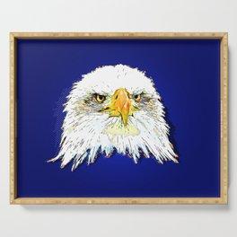 bald eagle pop illustration Serving Tray
