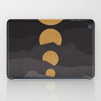 mountains iPad Cases featuring Rise of the golden moon by Picomodi