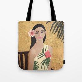 Hawiian Girl sitting in a chair Tote Bag