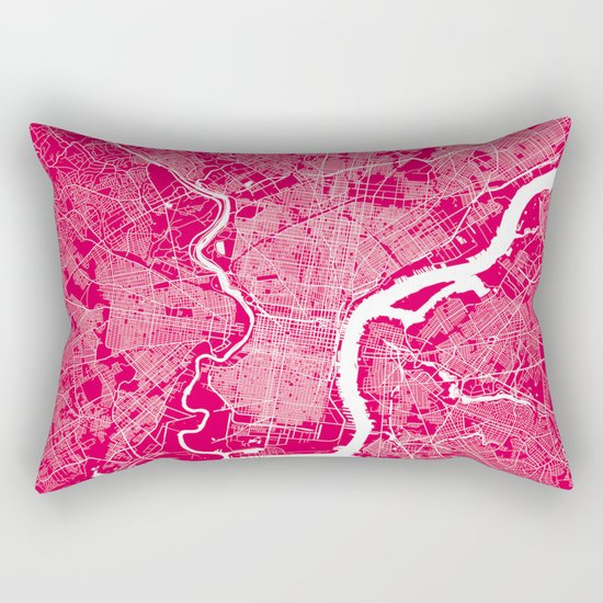 Philadelphia map raspberry Rectangular Pillow