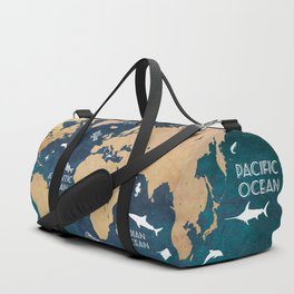 World Map Oceans Life blue #map #world Duffle Bag