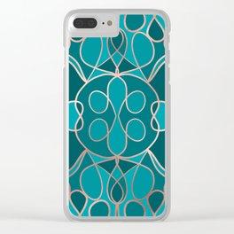 Modern Artsy Ocean Blue Rose Gold Geometric Clear iPhone Case