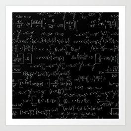 Chalk board mathematics pattern Art Print