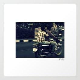Riding The Town in Chennai, India Art Print