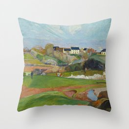 Paul Gauguin - Landscape at Le Pouldu Throw Pillow
