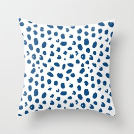 Painted spots in classic blue Throw Pillow