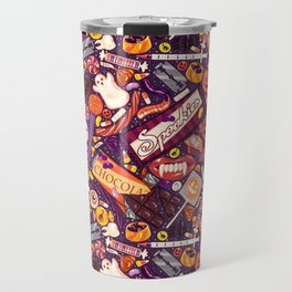 Creepy Halloween Candy on Purple Travel Mug