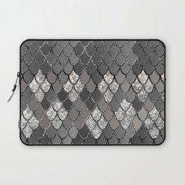 Mermaid Scales Silver Gray Glitter Glam #1 #shiny #decor #art #society6 Laptop Sleeve