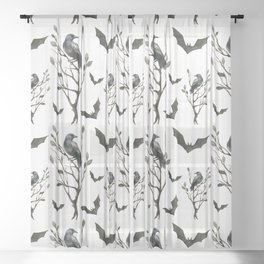 Happy Halloween pattern with hollow trees, ravens and bats Sheer Curtain