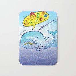 Wild whale saying bad words while fleeing a harpoon Bath Mat