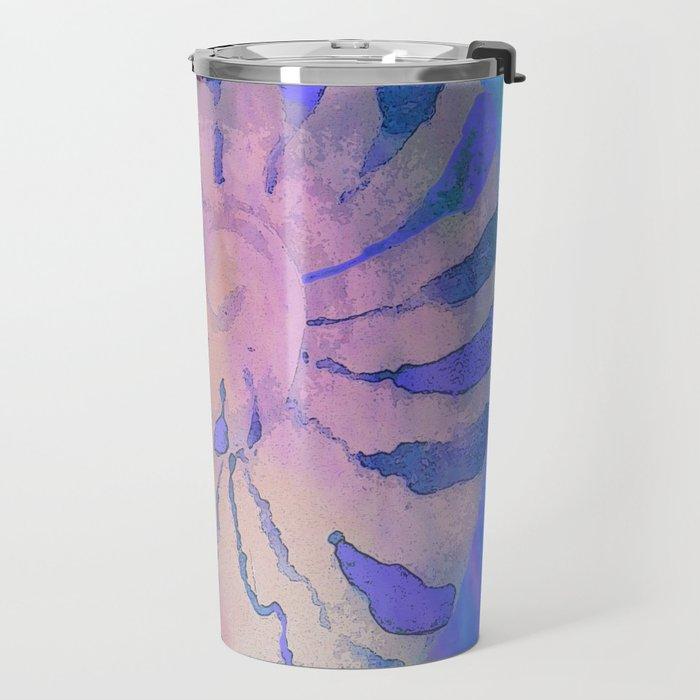 NAUTILUS SEA SHELL BLUE AND PURPLE IMPRESSIONS Travel Mug